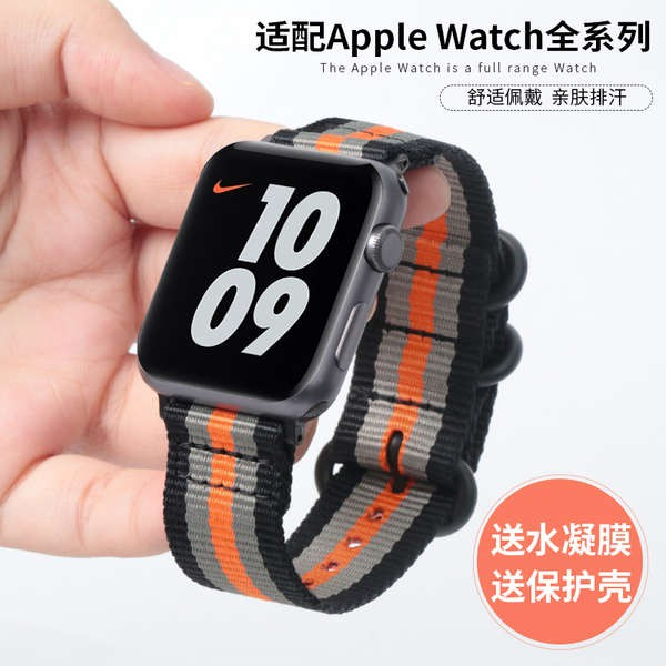 สาย applewatch สายรัด iwatch6 ที่ใช้งานได้ applewatch สายรัด apple watch 1/2/3/4/5 สายผ้าใบไนลอน 44 มม