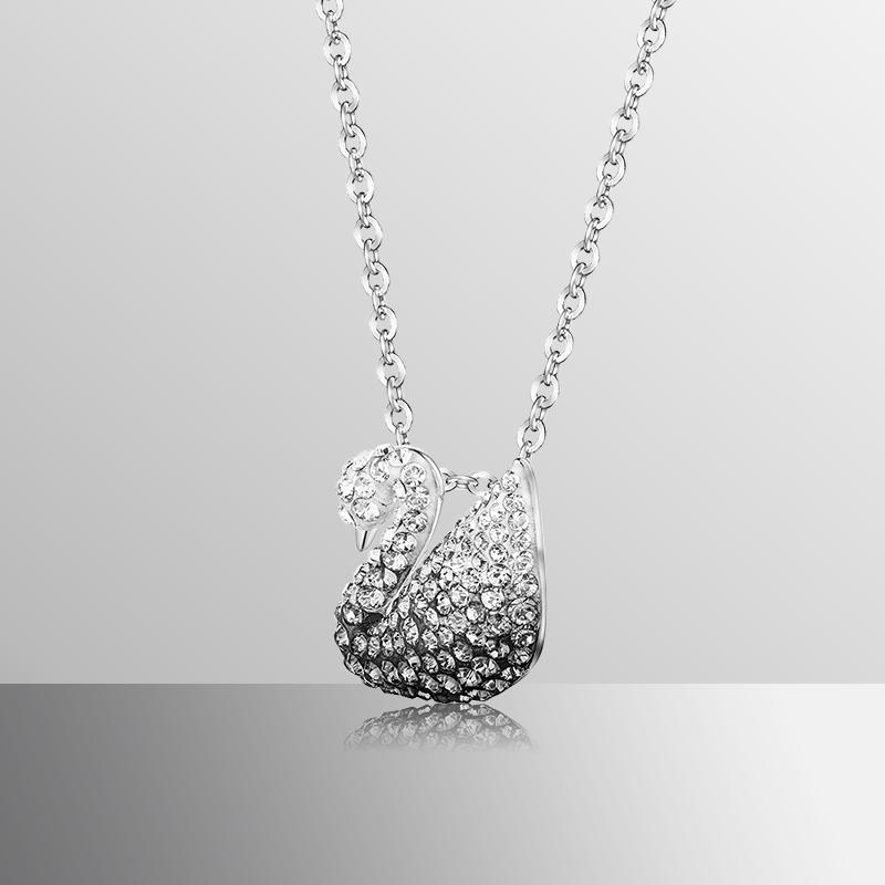ㇹらสร้อยคอระดับสูงสุดSwarovski สีดำและสีขาวไล่ระดับหงส์ (เล็ก) Iconic Swan สร้อยคอผู้หญิง5614118