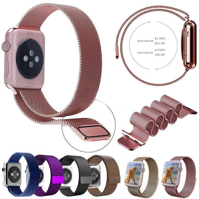 【Apple Watch Strap】Milanese Loop  อะไหล่  Metal Strap for Apple Watch series 6 se 5 4 3 2 1 38 มม. 42 มม. 42 มม. 44 มม