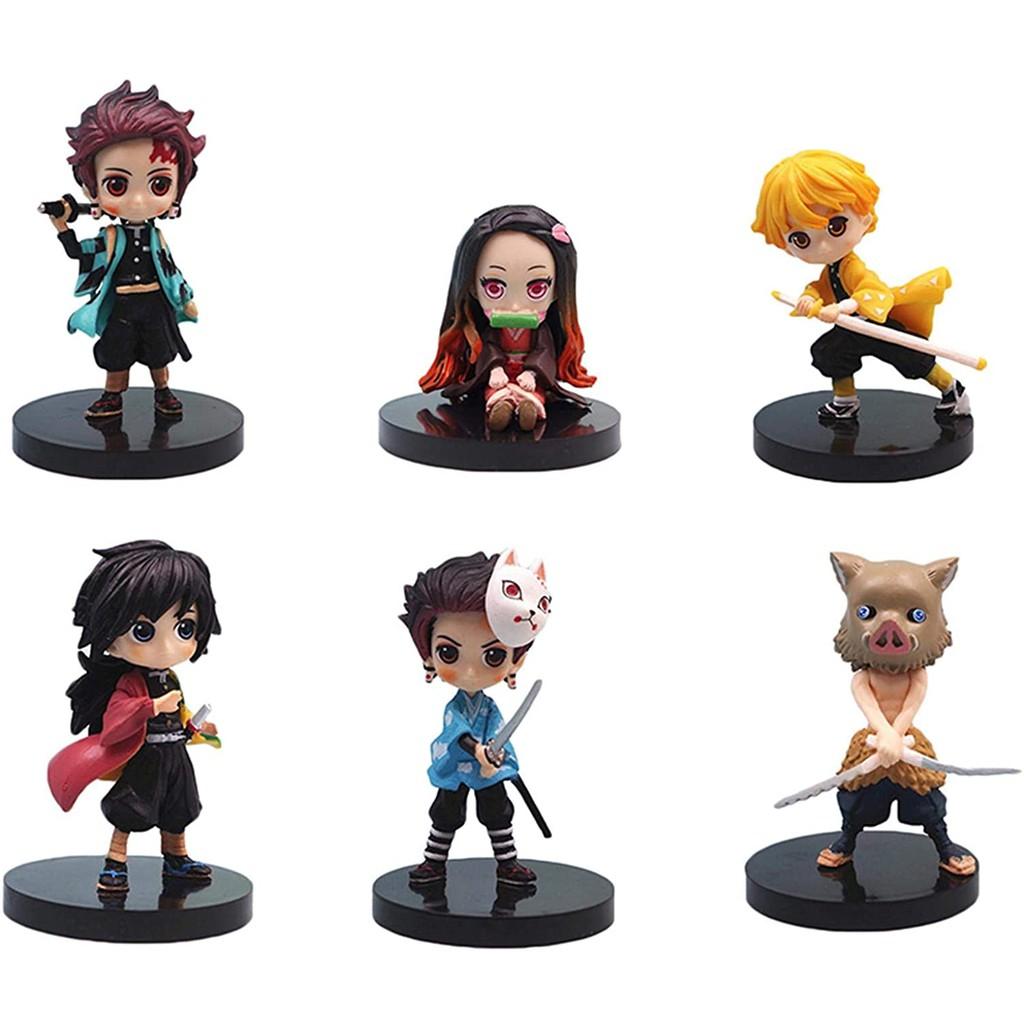 6CS/Set Demon Slayer Figure, Tanjiro Kamado Figure, Durable Mini Anime Figures, Cool Anime Character Model, Collectible