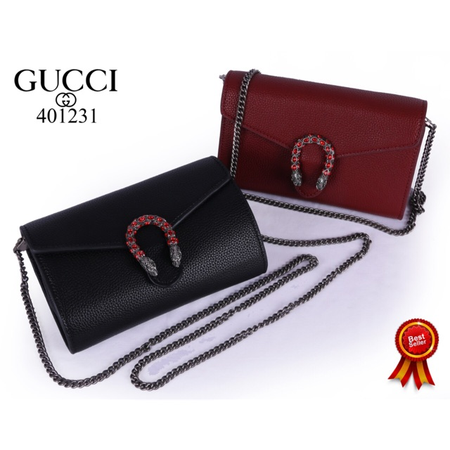 Gucci Dionysus กระเป๋าหนังสะพายไหล่สีดํา (401231)