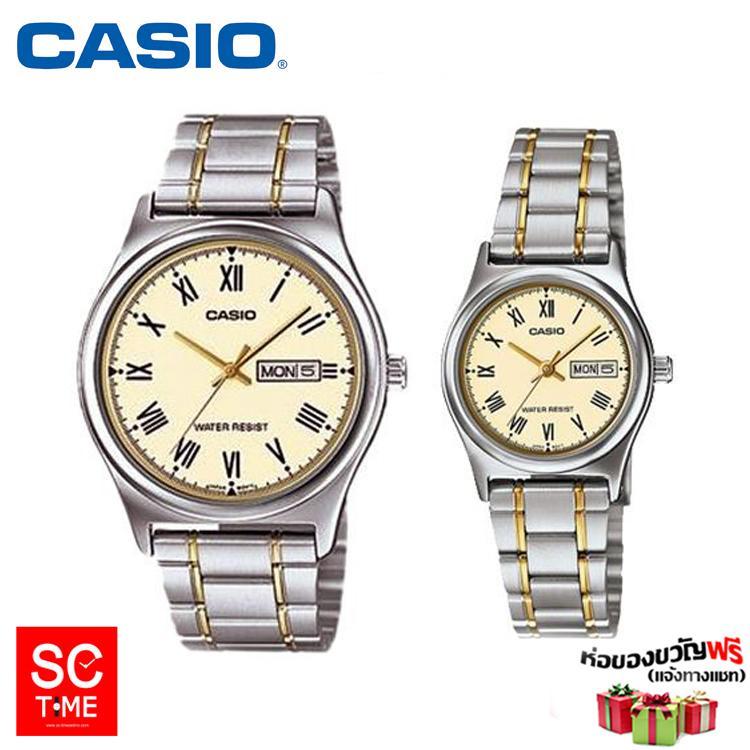 SC Time Online Casio แท้ นาฬิกาคู่ นาฬิกาข้อมือชาย-หญิง รุ่น MTP-V006SG-9BUDF,LTP-V006SG-9BUDF สายสแตนเลส (สินค้าใหม่ ขอ