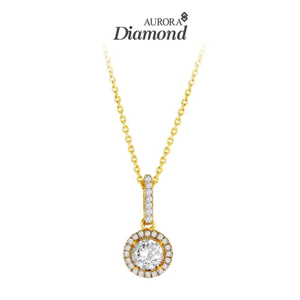 Aurora Diamond จี้เพชร พร้อมสร้อยคออิตาลี 18K คอลเลคชั่น Littie World ตัวเรือนสีทองDKOP001