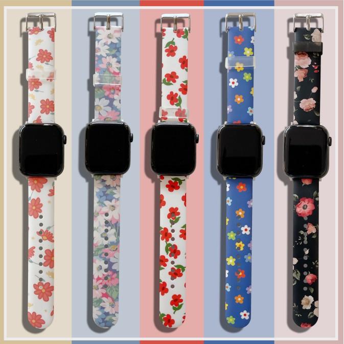 ใหม่ ดอกไม้สดขนาดเล็ก apple watch strap สายยางนุ่ม iwatch series SE 6 5 4 3 2 1  สาย applewatch 38 40 42 44mm