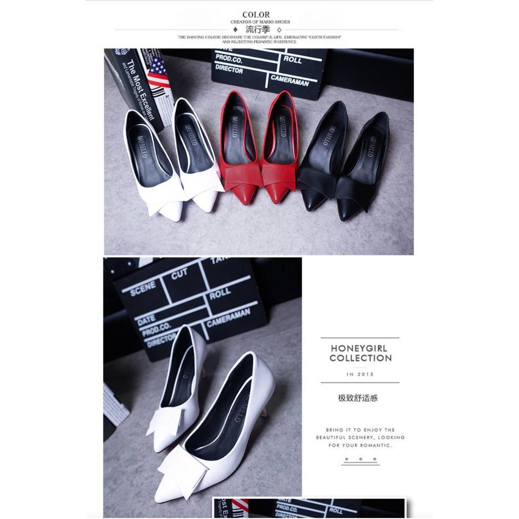 คัชชูหัวแหลมส้นสูงผู้หญิง รองเท้าส้นสูงแฟชั่นขายดี รองเท้าคัชชูส้นสูง 1 นิ้ว