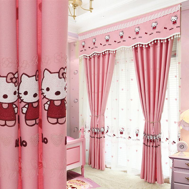 【เมตร詅】ที่กำหนดเองห้องนอนเด็กสาวการ์ตูนสีชมพูhello kittyแมวปักผ้าม่านสำเร็จรูป