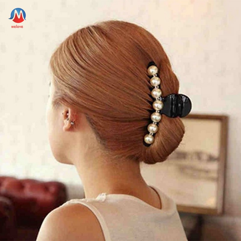 Beautiful Lady Pearl and Fabric Bowknot Duckbill Hairpin Hair Clip Barrette