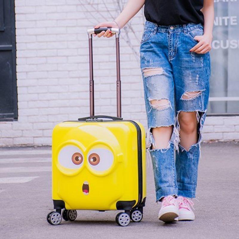 ☎กระเป๋าเดินทางล้อลากเด็กมินเนี่ยนสำหรับผู้ชายและผู้หญิง กระเป๋าเดินทาง 18 นิ้ว กระเป๋าเดินทางเด็ก กระเป๋าเดินทางล้อเลื่