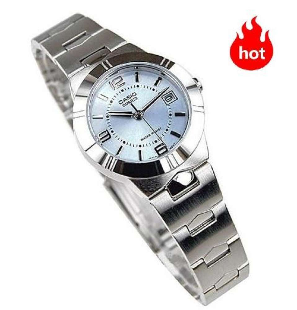 Win Watch Shop Casio นาฬิกาข้อมือผู้หญิง สายสแตนเลส รุ่น LTP-1241D-2A - มั่นใจ ของแท้ 100% ประกัน 1 ปีเต็ม (ส่งฟรี เก็บเ