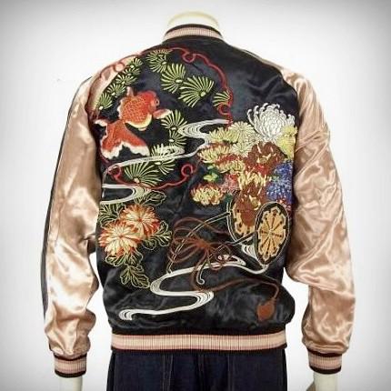 SUKAJAN แบรนด์แท้ญี่ปุ่น Japanese Souvenir Jacket แจ็คเกตซูกาจันลาย Golden Fish