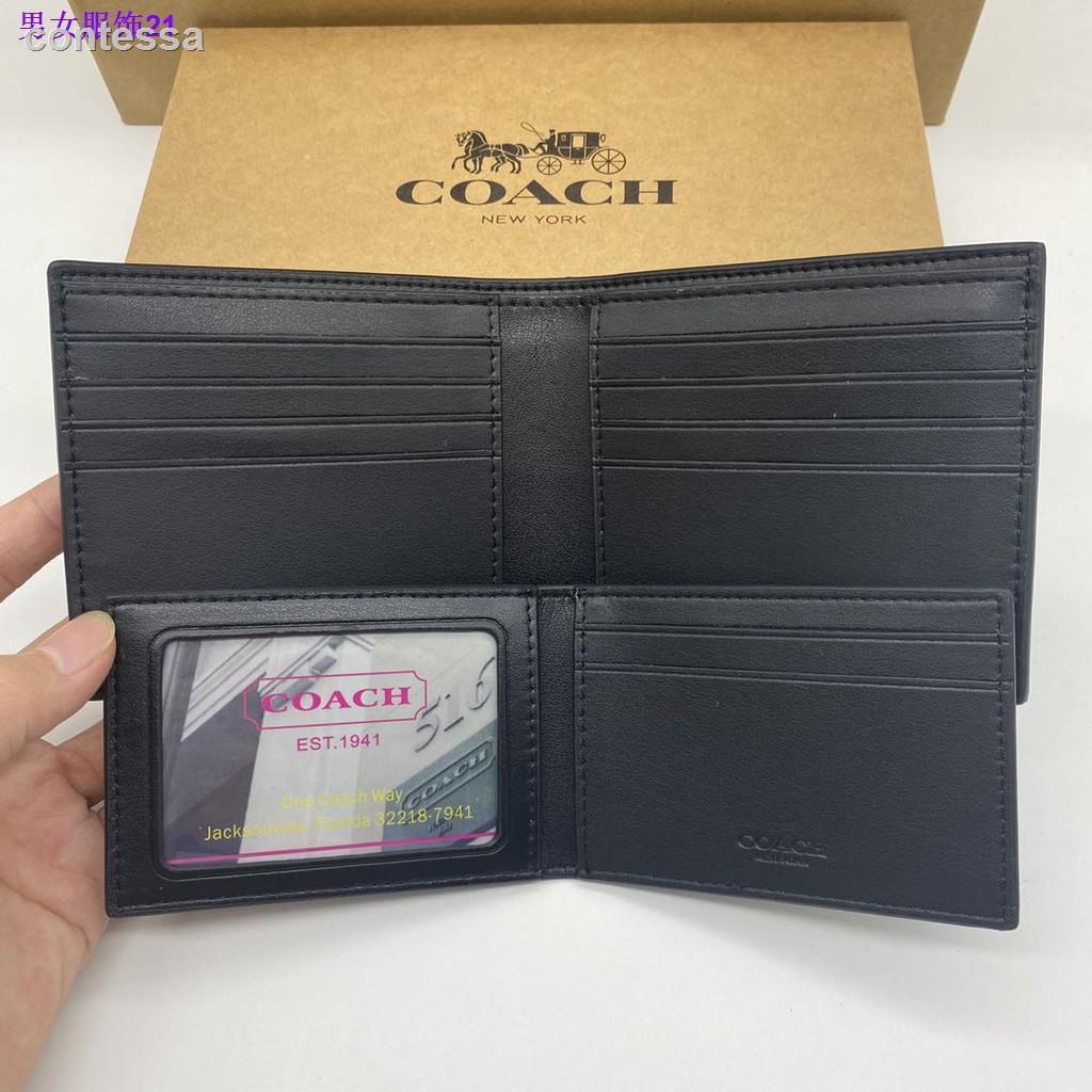 100 % ต้นฉบับ 100 % จัดส่ง✥▲∏กระเป๋าตังค์~ COACH F74993 กระเป๋าสตางค์แท้ 100% / กระเป๋าสตางค์ผู้ชายใบสั้น / กระเป๋าใส่เห