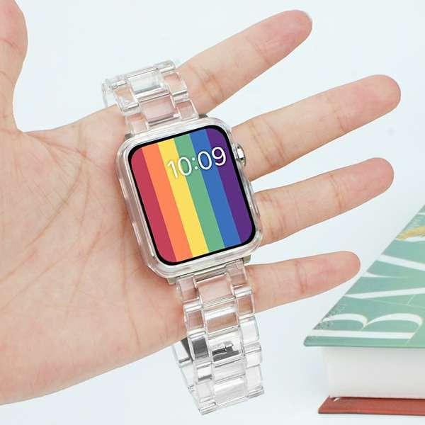 สาย applewatch สายรัด Apple Watch ที่ใช้งานได้ iwatch6 สายรัดโปร่งใสบุคลิกภาพ applewatch Apple Watch 5 / SE / 4/3 รุ่น 3