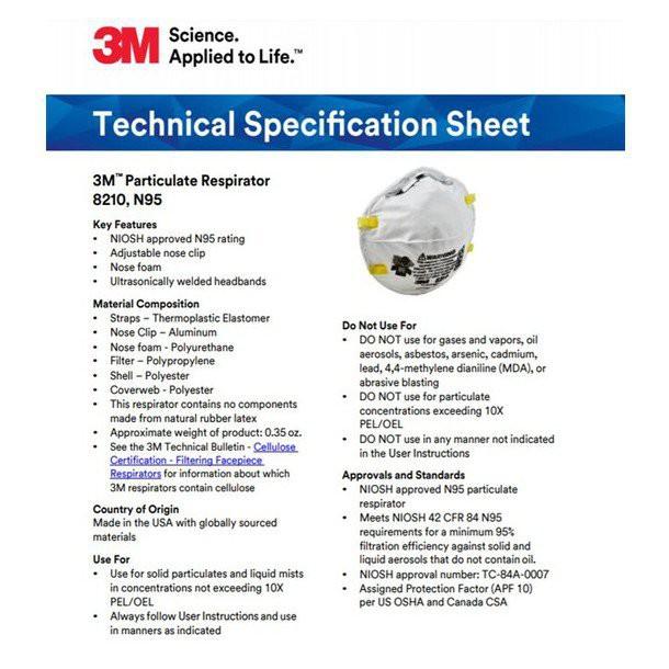 89jj 3M Particulate Respirator 8210, N95 Mask (20pcs/box)