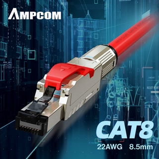 AMPCOM Cat8 Ethernet Patch Cable S/FTP 22AWG 40Gbps Screened Solid Cable 1-25M