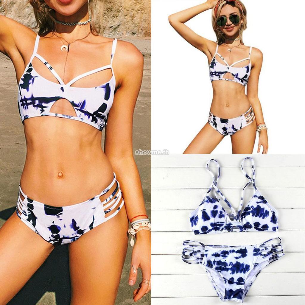 273d562896 🍒Women Bikini Set Sexy Adjustable Spaghetti Strap Print Cut Out Swimwear