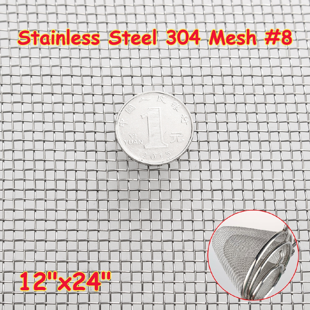 12/'/' x 24/'/' Stainless Steel 304 Mesh Filter Filtration Woven Wire Cloth Screen