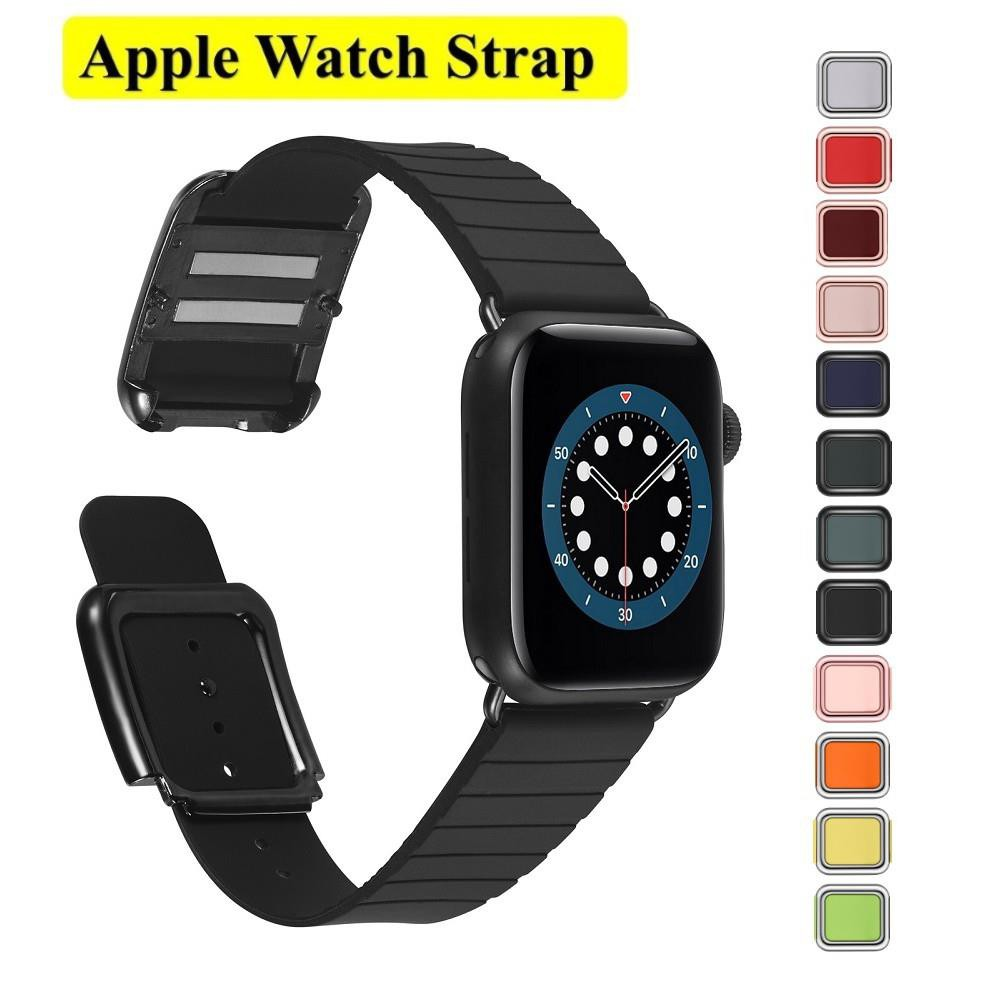 Apple Watch Straps Modern style Soft Silicone Applewatch Series 6 5 4 3, SE Watchband Magnetic buckle size 38mm 40mm 42