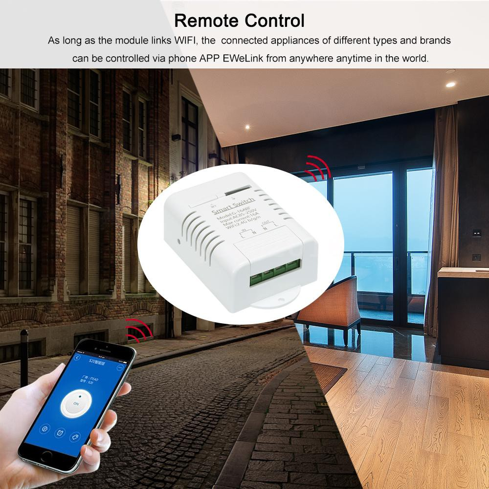 eWeLink Smart Wifi Switch RF 433MHz 16A/3500W Wireless Remote Switch Timer  for Android/IOS APP Control Compatible with