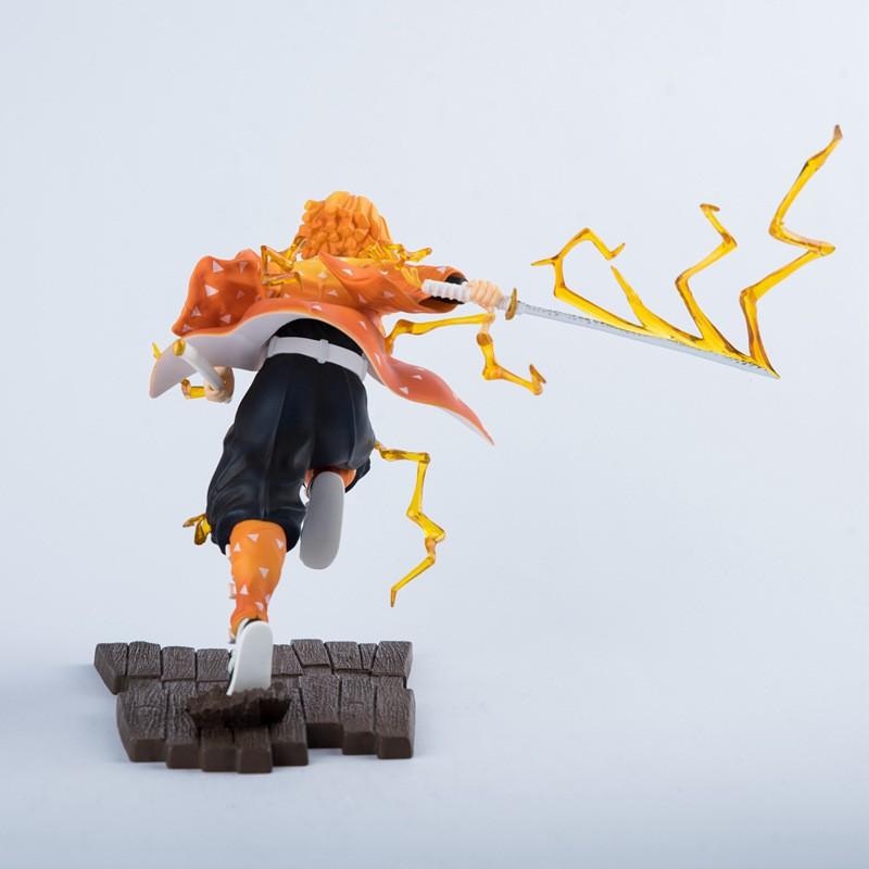 ♠✒19cm Demon Slayer: Kimetsu No Yaiba The Breath of Thunder Agatsuma Zenitsu Statue Figure Model