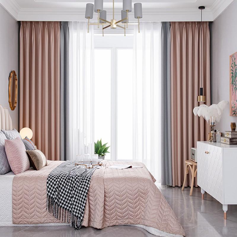 ผ้าม่านเสาชุดติดตั้งฟรีเจาะเสากล้องส่องทางไกลผ้าม่านสำเร็จรูป2020ใหม่ห้องนอน
