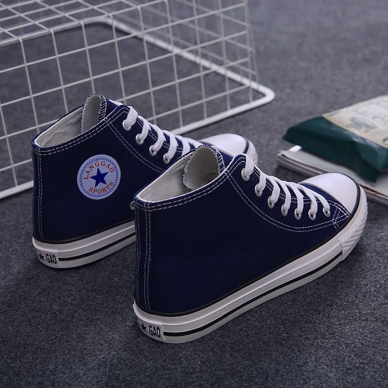 รองเท้าคัชชู รองเท้าผู้หญิง ร้องเท้า ❃2020 ฤดูใบไม้ผลิสีดำรองเท้าผ้าใบสูงหญิงเกาหลีร้อยรองเท้านักเรียนรองเท้ารองเท้าที่ม