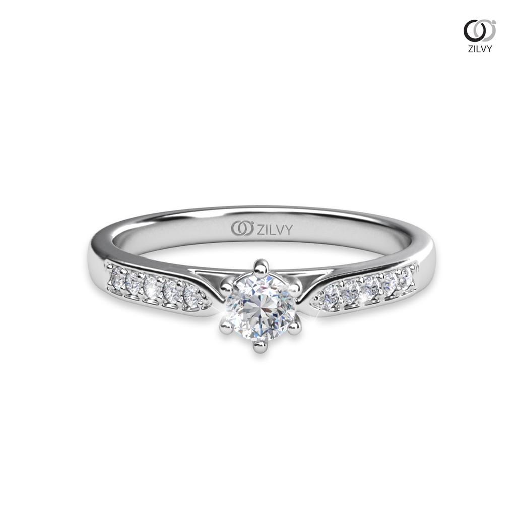 ราคาไม่แพงมาก✖♣Zilvy - แหวนหญิงเพชรน้ำร้อย 0.30 กะรัต ตัวเรือน ทองคำขาว (GR1007)