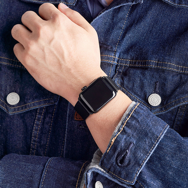 ♗じบังคับ iwatch6/SE สายหนัง Hermes หัวเข็มขัดพับแอปเปิ้ล applewatch5/4ผีเสื้อหัวเข็มขัดผู้ชาย