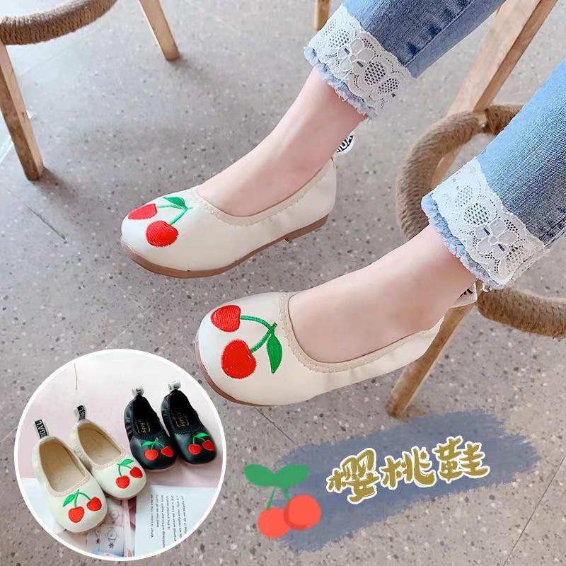 รองเท้าคัชชูลายเชอรี่แฟชั่นสำหรับเด็กผู้หญิง