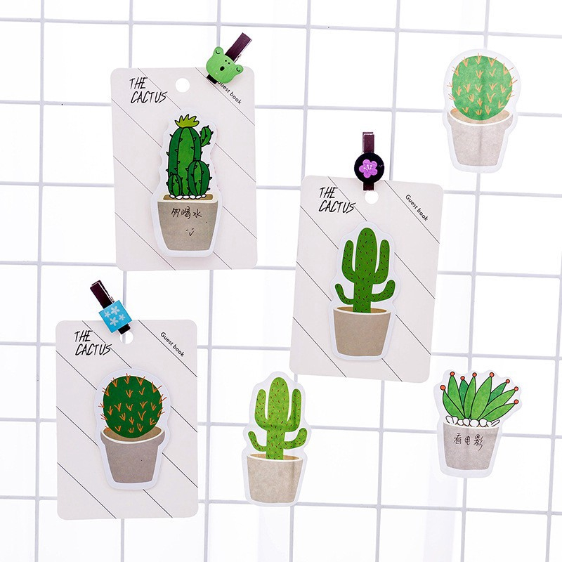[COD] Kawaii Cactus Mini Sticky Notes Diary Mark Message Pad Paper Sticker Book Lovely