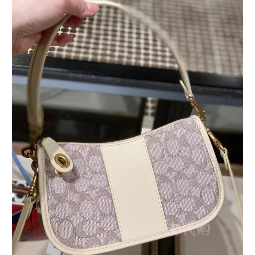 ของแท้coachCOACH กระเป๋าและกระเป๋าผ้าลินินใหม่swingerกระเป๋าสะพายใต้วงแขนกระเป๋าหนังเดซี่ขนาดเล็ก