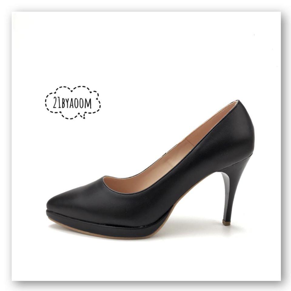 รองเท้าคัชชูหัวแหลม สูง4นิ้ว รุ่นN001 สีดำสีครีม
