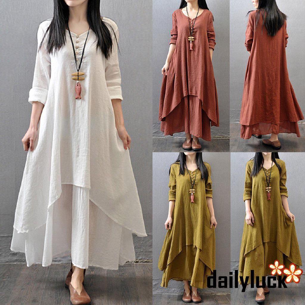 57da7142d0325 NFW♥Fashion Women Maternity Dress Long Sleeve Vintage Dress Double Layers  Loose Dress
