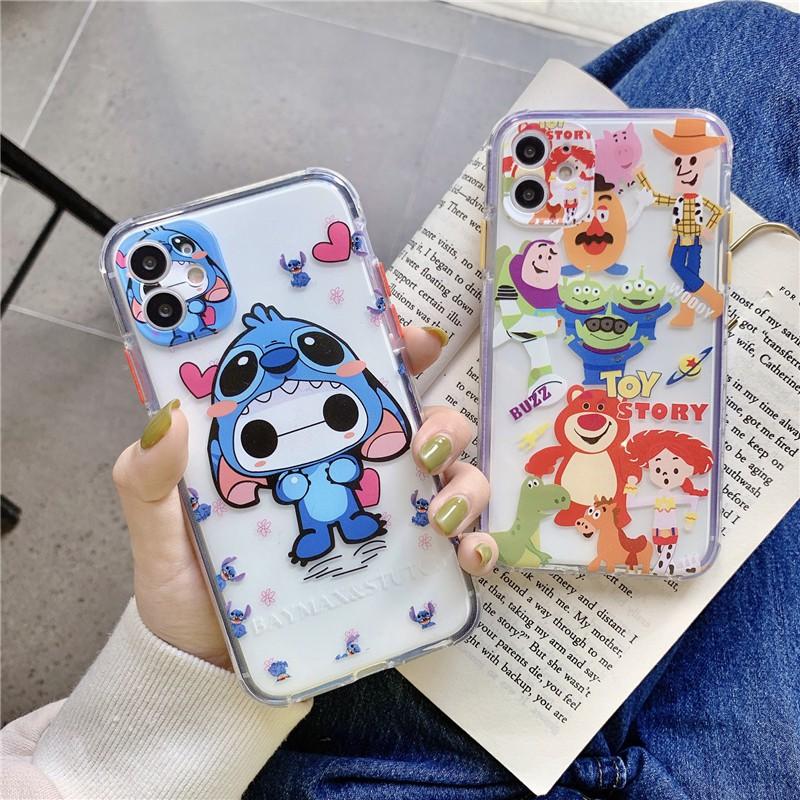 การ์ตูนน่ารักสองสีเปลือกด้าน Shi Dizai และสตรอเบอร์รี่หมีแอปเปิ้ลโทรศัพท์มือถือเปลือก IPhone 11/11 Pro 11 Pro Max X XR XS Max 6s 7 8 Plus Military anti-slip and anti-fall protective cover for mobile phone case