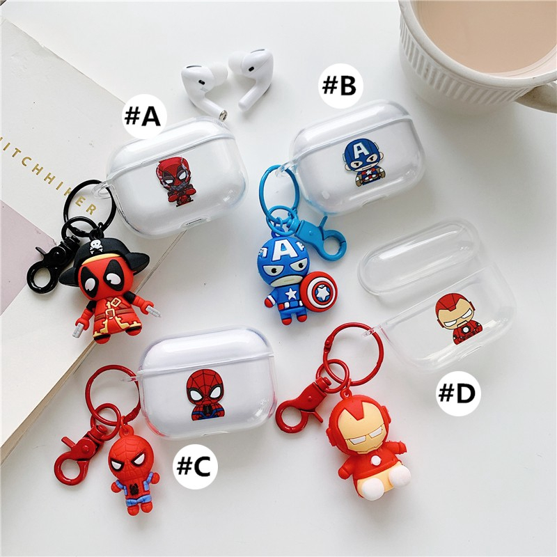 Apple AirPods Pro Case airpods3  airpodspro airpods 2 1 Covers Soft Case airpods 3 Silicone Transparent Key pendant iron man