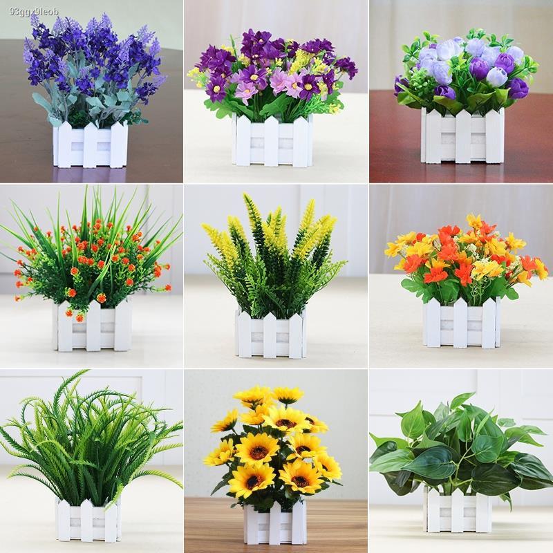 การจำลองพันธุ์ไม้อวบน้ำ◕จำลอง พลาสติก โรงงาน ดอกเดซี่ รั้วดอกไม้ปลอม กระถางในร่ม ธรณีประตูหน้าต่างห้องนั่งเล่น ตกแต่ง สี