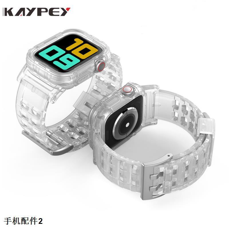 สายนาฬิกาข้อมือยางสีใสสําหรับ Apple Watch Series 5 4 3 2 1 Iwatch 38 / 40 42 44 มม .