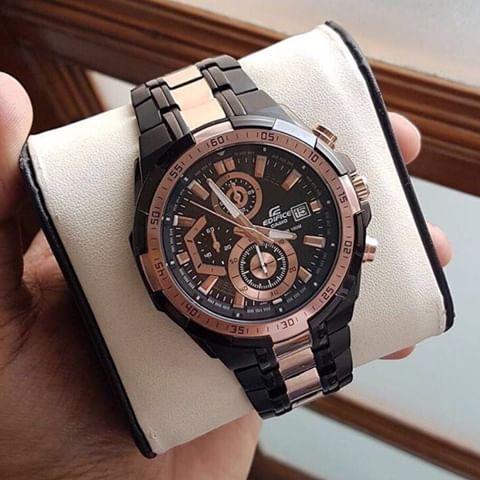 (ของแท้100% ประกันCMG ) Casio  นาฬิกาข้อมือชาย สายสแตนเลส รุ่นEFR-539BKG-1AV - Black/Rosegold รับประกัน 1 ปี QGO5
