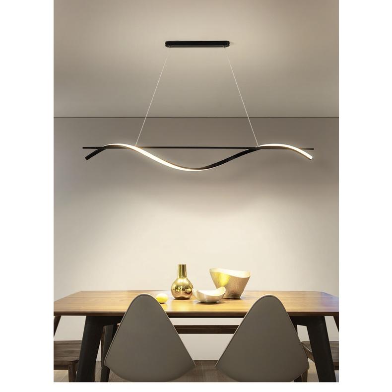 ร้านอาหารโคมไฟระย้าที่ทันสมัยเรียบง่าย ledคำยาวบุคลิกภาพความคิดสร้างสรรค์การออกแบบบาร์โคมไฟโต๊ะรับประทานอาหารโคมไฟ#¥%¥#