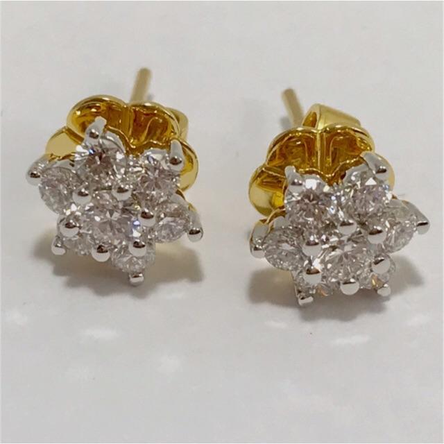 ต่างหูเพชรแท้ดอกพิกุลตัวเรือนทอง90%เพชรน้ำ98สะอาดระดับvs1เหลี่ยมสวยSALEเลยจากราคาป้ายลดถึง 50% จากราคาปรกติ