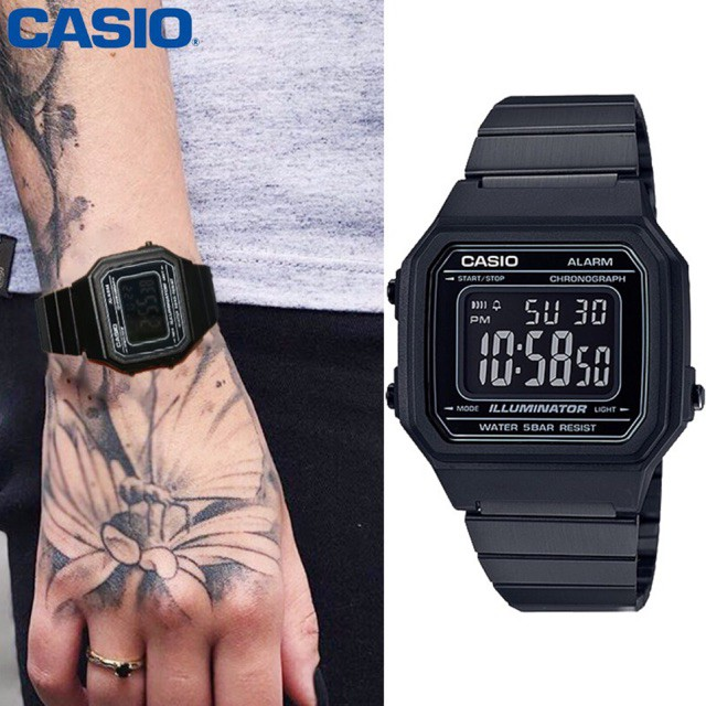 Veladeedee นาฬิกา Casio (คาสิโอ) (ประกัน CMG 1ปี) Digital สายสแตนเลส รุ่น B650WB-1B (สีดำ)