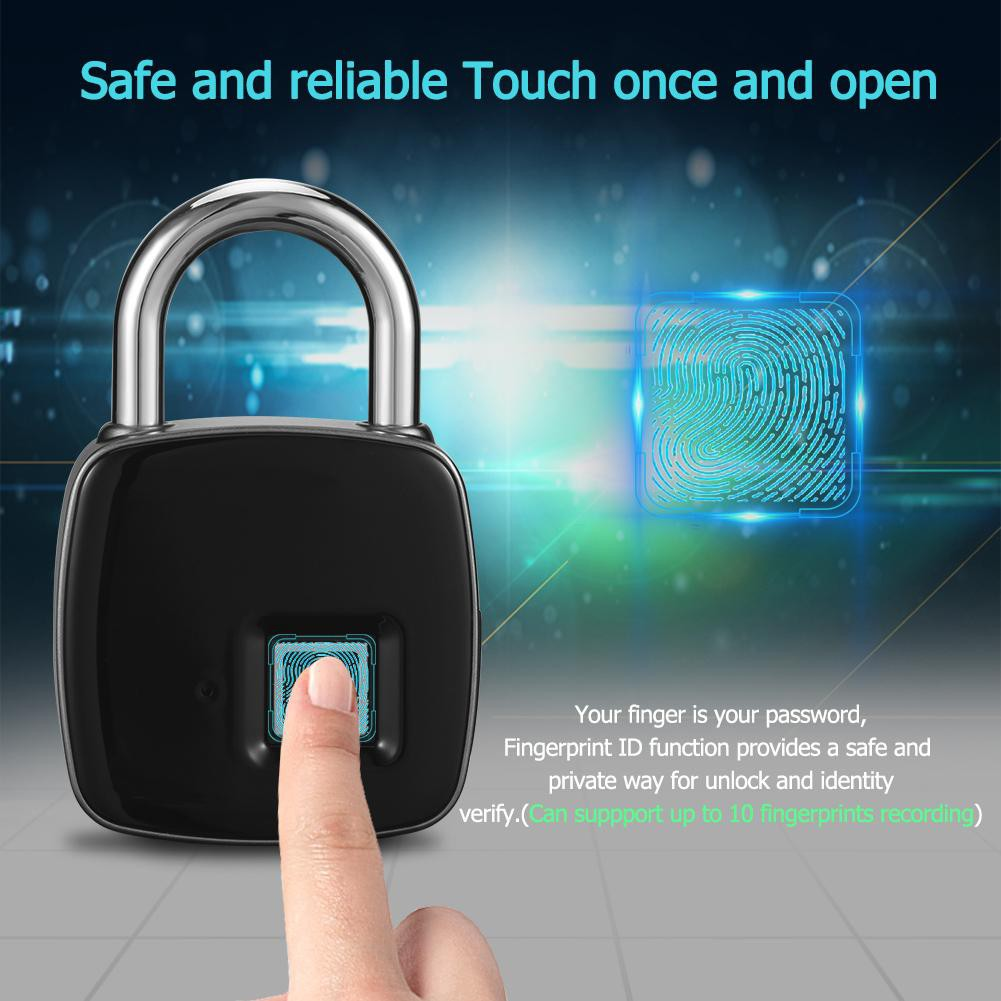 ACT❤Anytek Electronic P3 Fingerprint Lock Waterproof Keyless Anti-theft  Padlock Door Lock