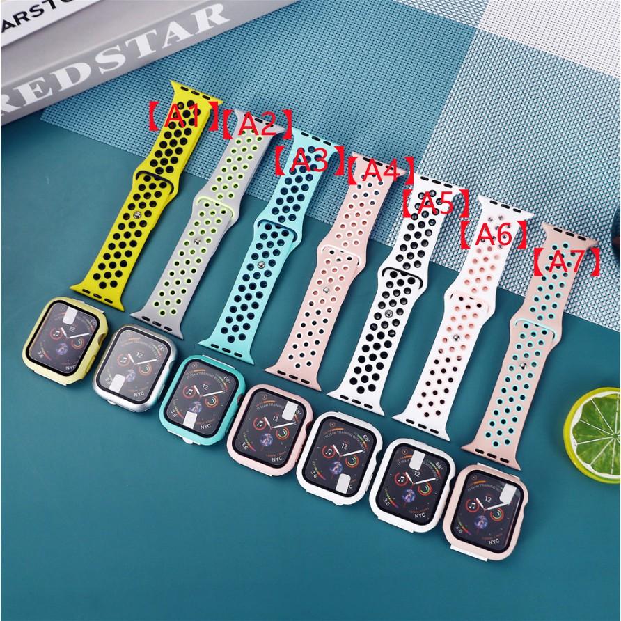 สายรัดซิลิโคน NK + เคสพีซีสายรัด Apple Watch สายซิลิโคนเหลว iWatch Series SE 6 5 4 3 2 1 สาย Applewatch 38 40 42 44mm