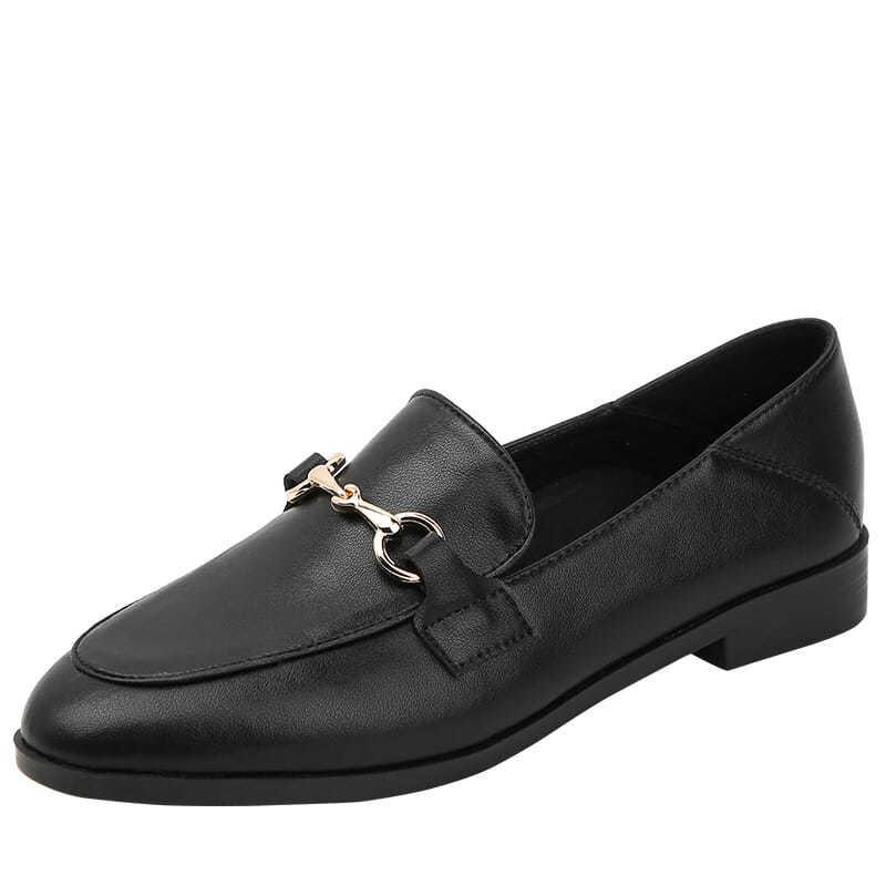 ร้องเท้า รองเท้าผู้หญิง รองเท้าคัชชู ❧สีดำรองเท้าหนังขนาดเล็กหญิงหนังนิ่ม 2021 ใหม่ลมอังกฤษรองเท้าผู้หญิงรองเท้า Laofu ร