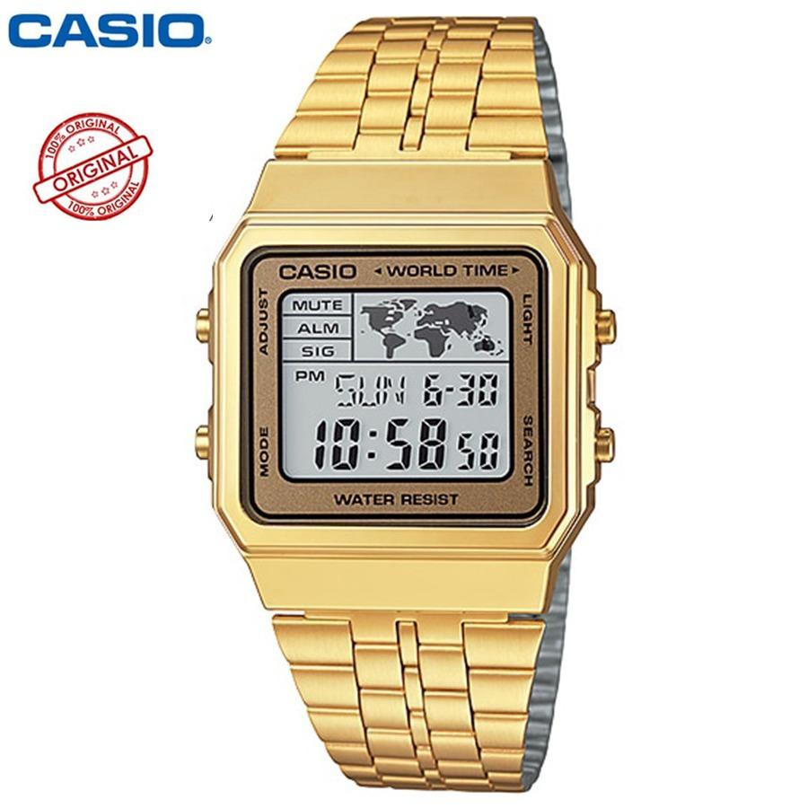 Casio Standard นาฬิกาข้อมือผู้ชาย สายสแตนเลส รุ่น A500WGA-9 - สีทอง(ของแท้100% ประกันCMG)