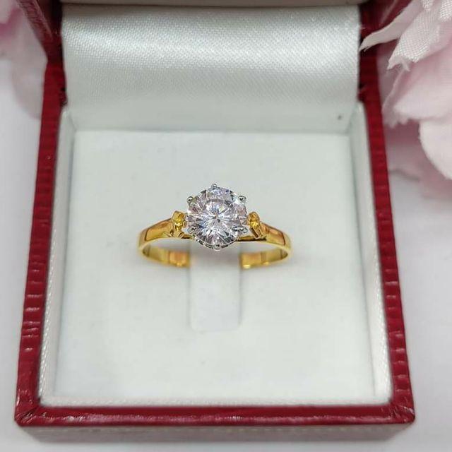 แหวนเพชรชูสวยเก๋ ทองคำแท้ ราคาโรงงาน