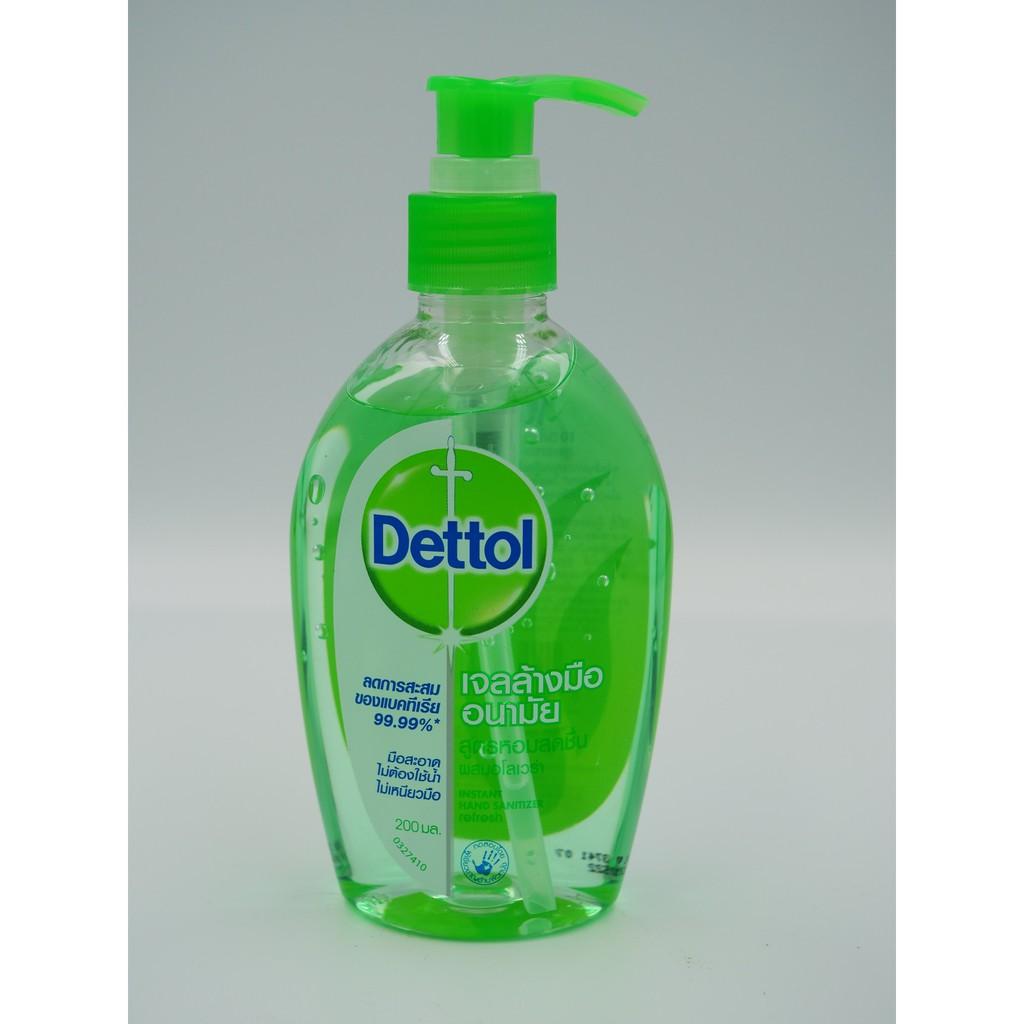 Dettol เดทตอล รีเฟรช เจลล้างมืออนามัย สูตรหอมสดชื่น ผสมอโลเวร่า 200 ml
