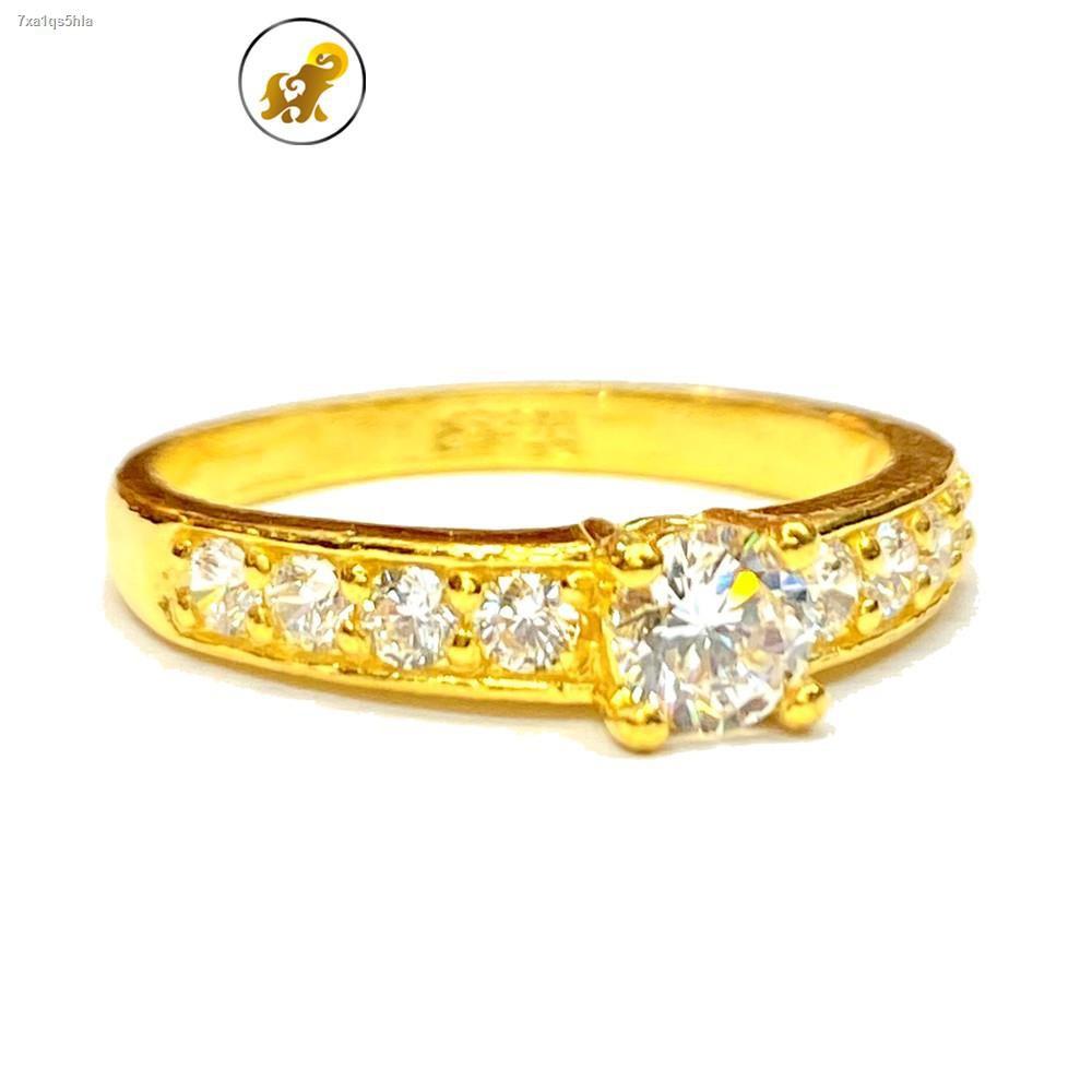 ราคาต่ำสุด✼☬PGOLD แหวนทอง 1 สลึง เพชรสวิสล้อมเพชร หนัก 3.8 กรัม ทองคำแท้ 96.5% มีใบรับประกัน