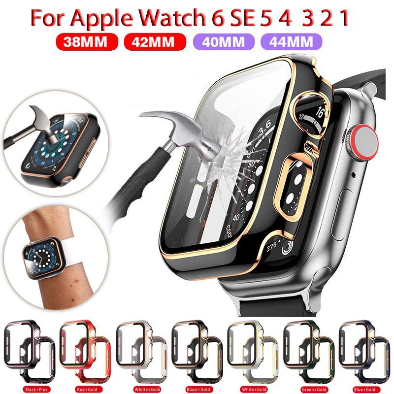 ฟิลม์กระจก + เคส for iWatch Case 42mm 38mm 3 2 1 ฟิล์มกระจกแบบเต็มจอ Cover Cases for Apple Watch serie 6 5 4 3 SE 44mm 40mm