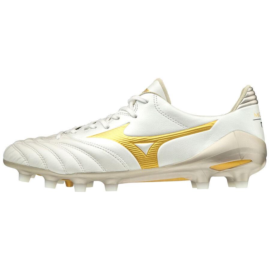 ⚽ รองเท้าสตั๊ด (Football Cleats) ยี่ห้อ Mizuno (มิซูโน) รุ่น Morelia NEO II MD สีขาว/ทอง รหัส P1GA205350