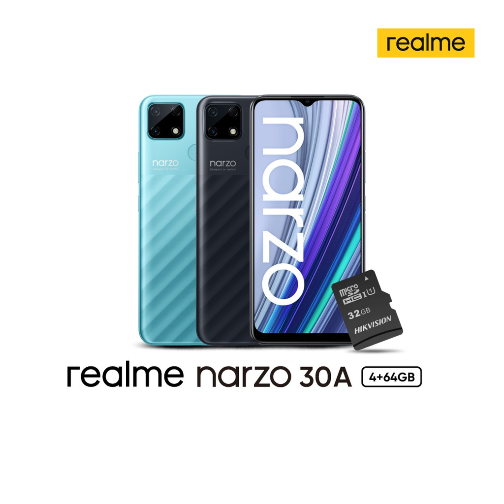 [Shopee Exclusive][DEJTOR394] Realme Narzo 30A 4/64GB หน้าจอ 6.52นิ้ว ฟรี Buds Air Neo และ Hikvision SD Card 32GB